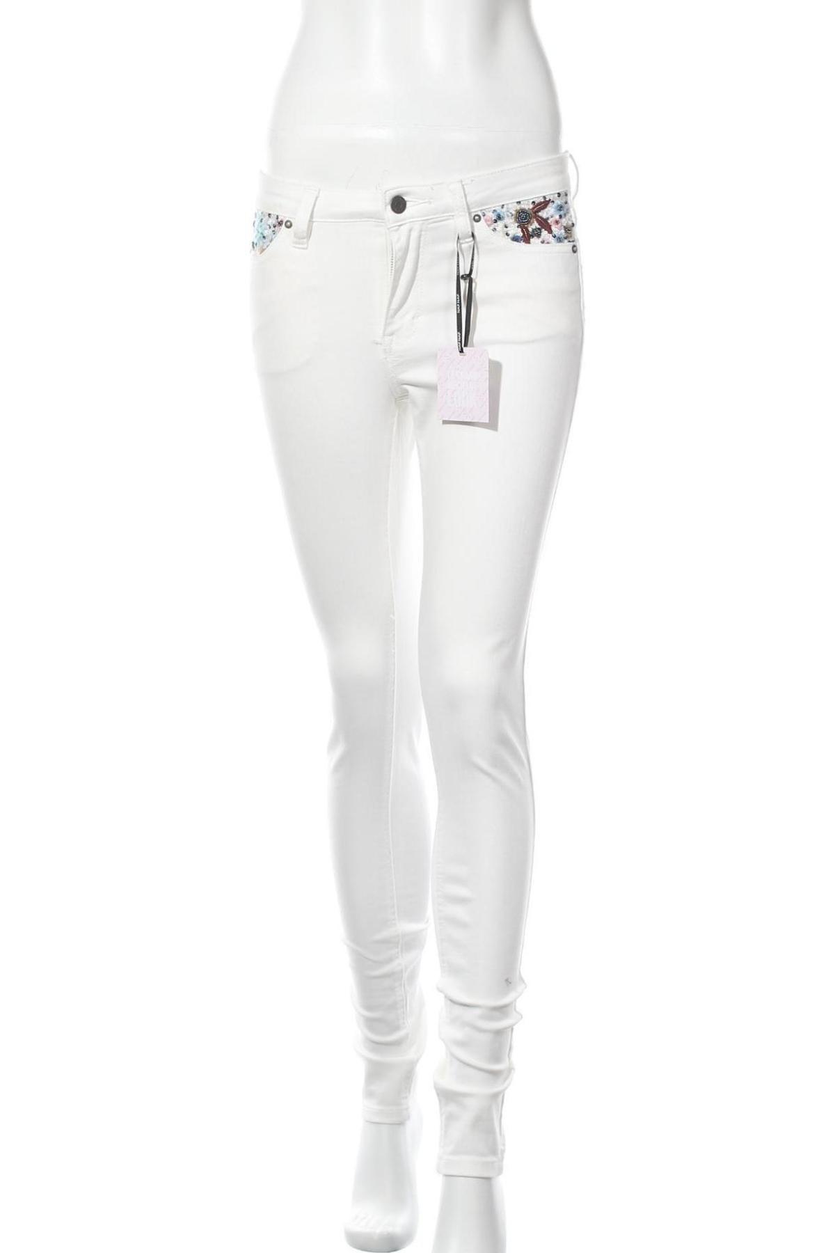 Дамски дънки Naf Naf, Размер XS, Цвят Бял, Цена 41,34лв.