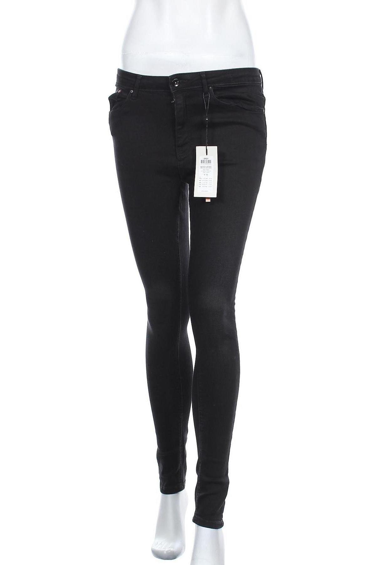 Дамски дънки ONLY, Размер S, Цвят Черен, 98% памук, 2% еластан, Цена 28,62лв.