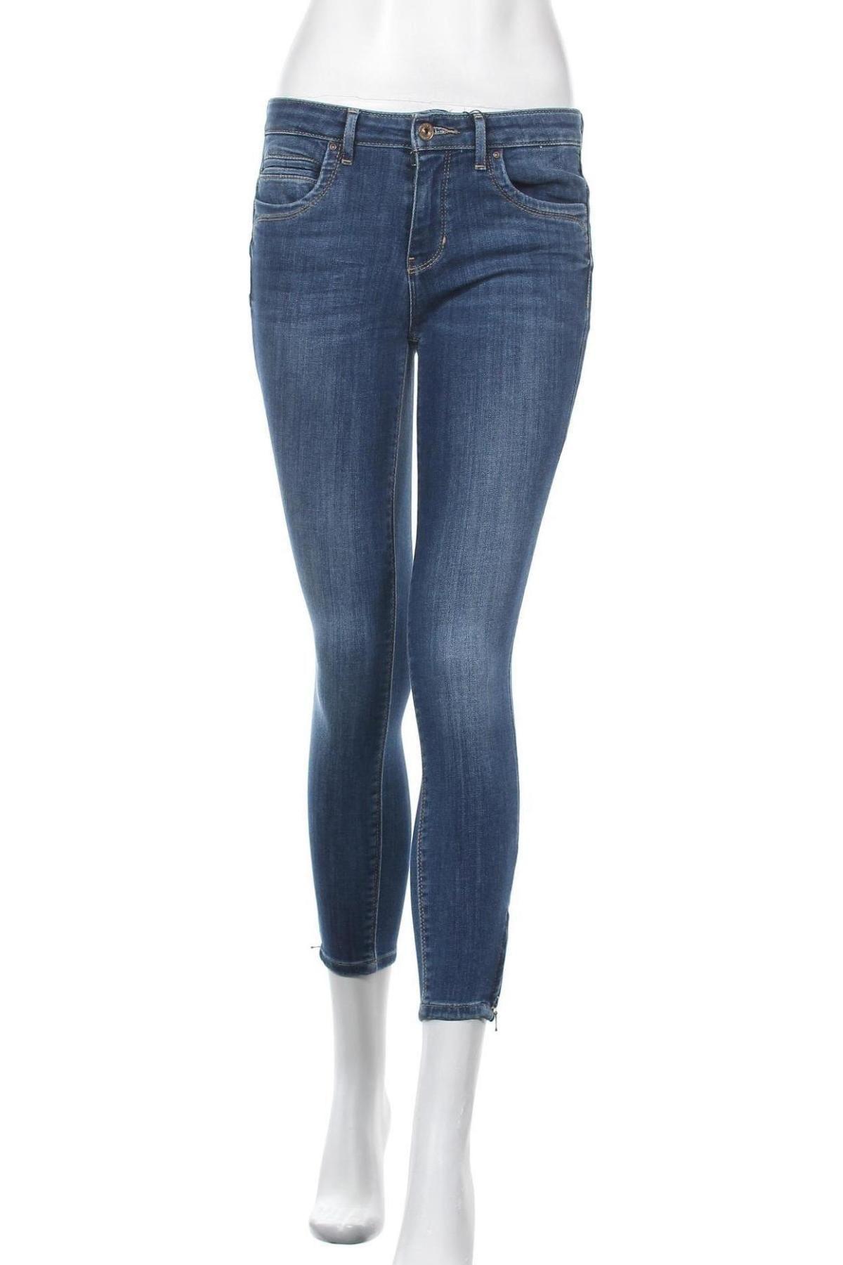 Дамски дънки ONLY, Размер M, Цвят Син, 84% памук, 14% полиестер, 2% еластан, Цена 44,25лв.