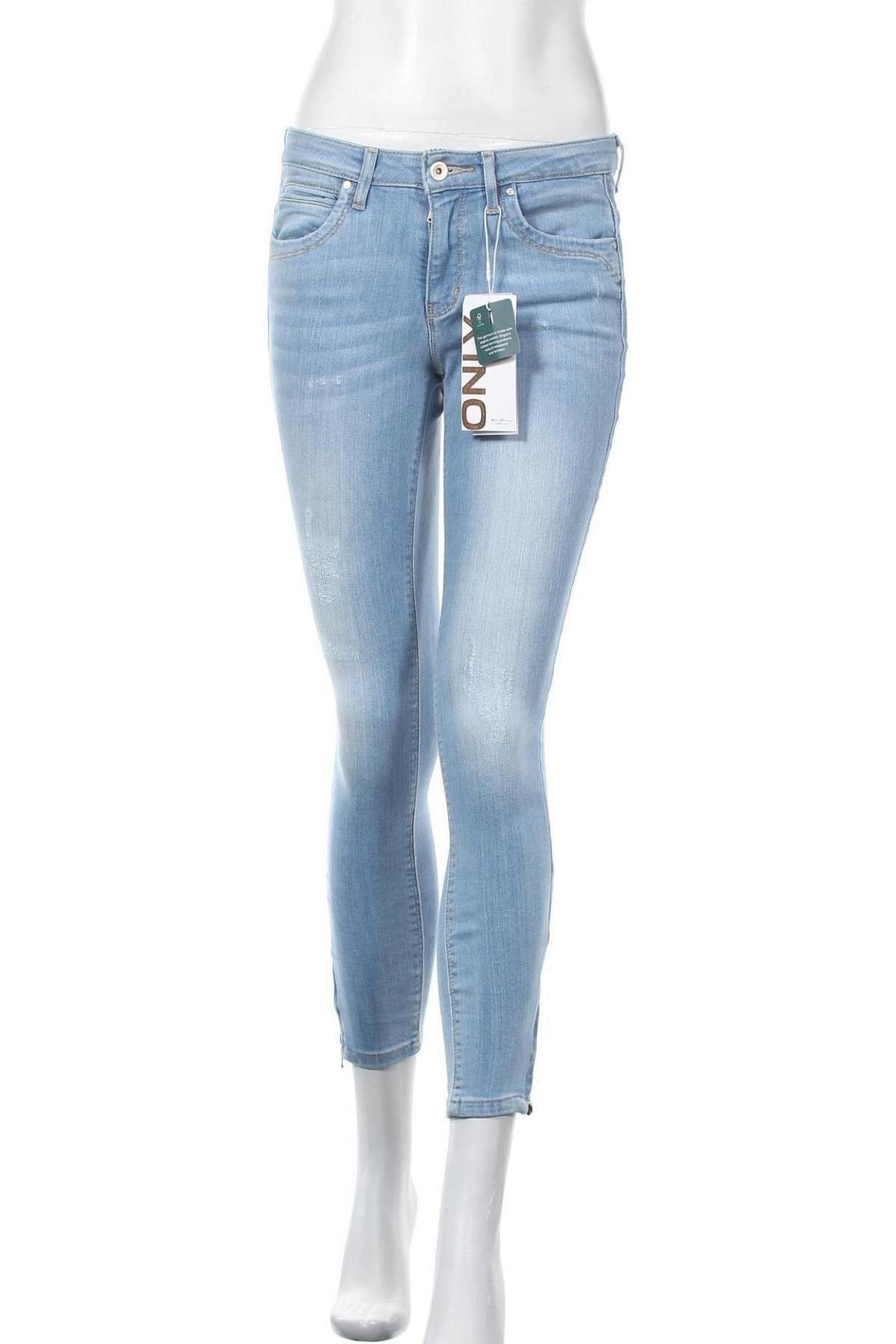 Дамски дънки ONLY, Размер S, Цвят Син, 84% памук, 14% полиестер, 2% еластан, Цена 41,40лв.