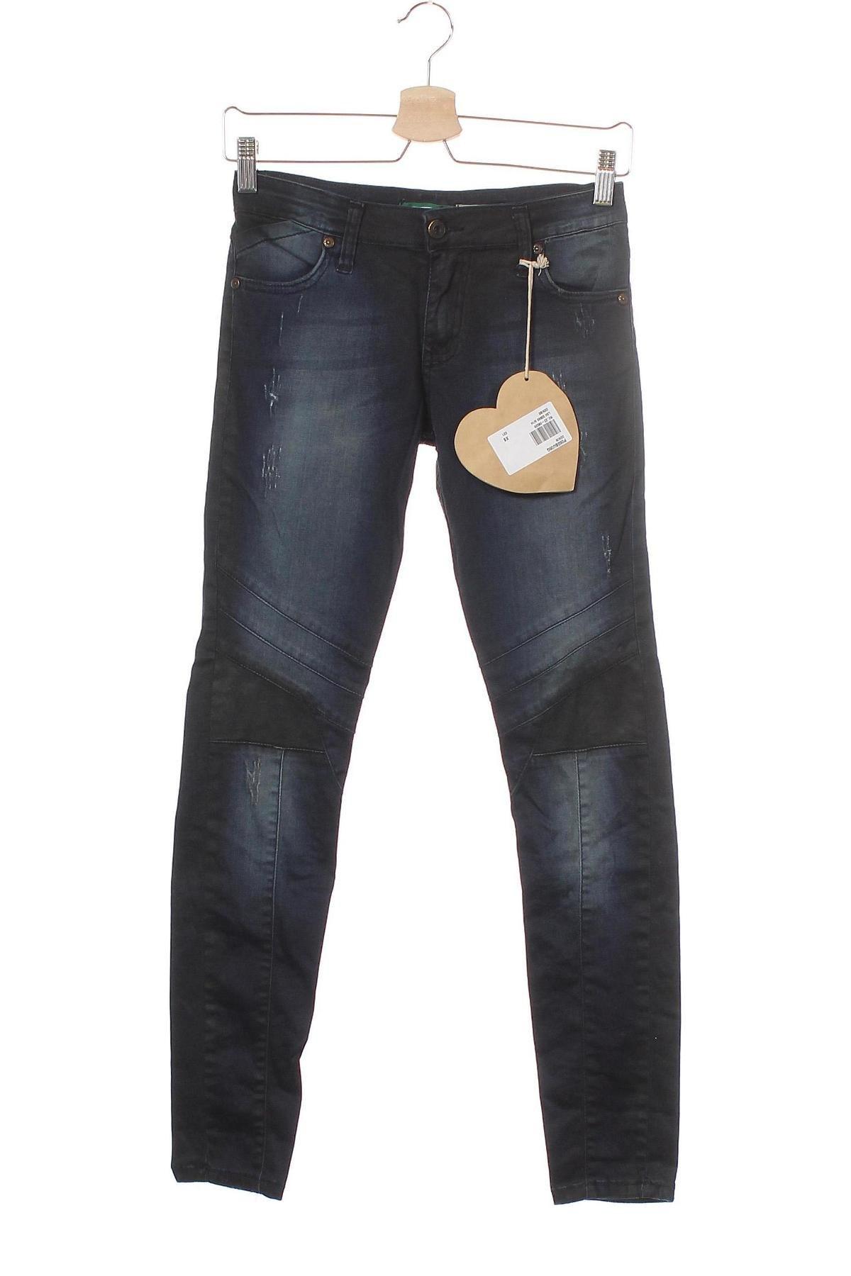Дамски дънки Please, Размер XS, Цвят Син, 98% памук, 2% еластан, Цена 34,98лв.