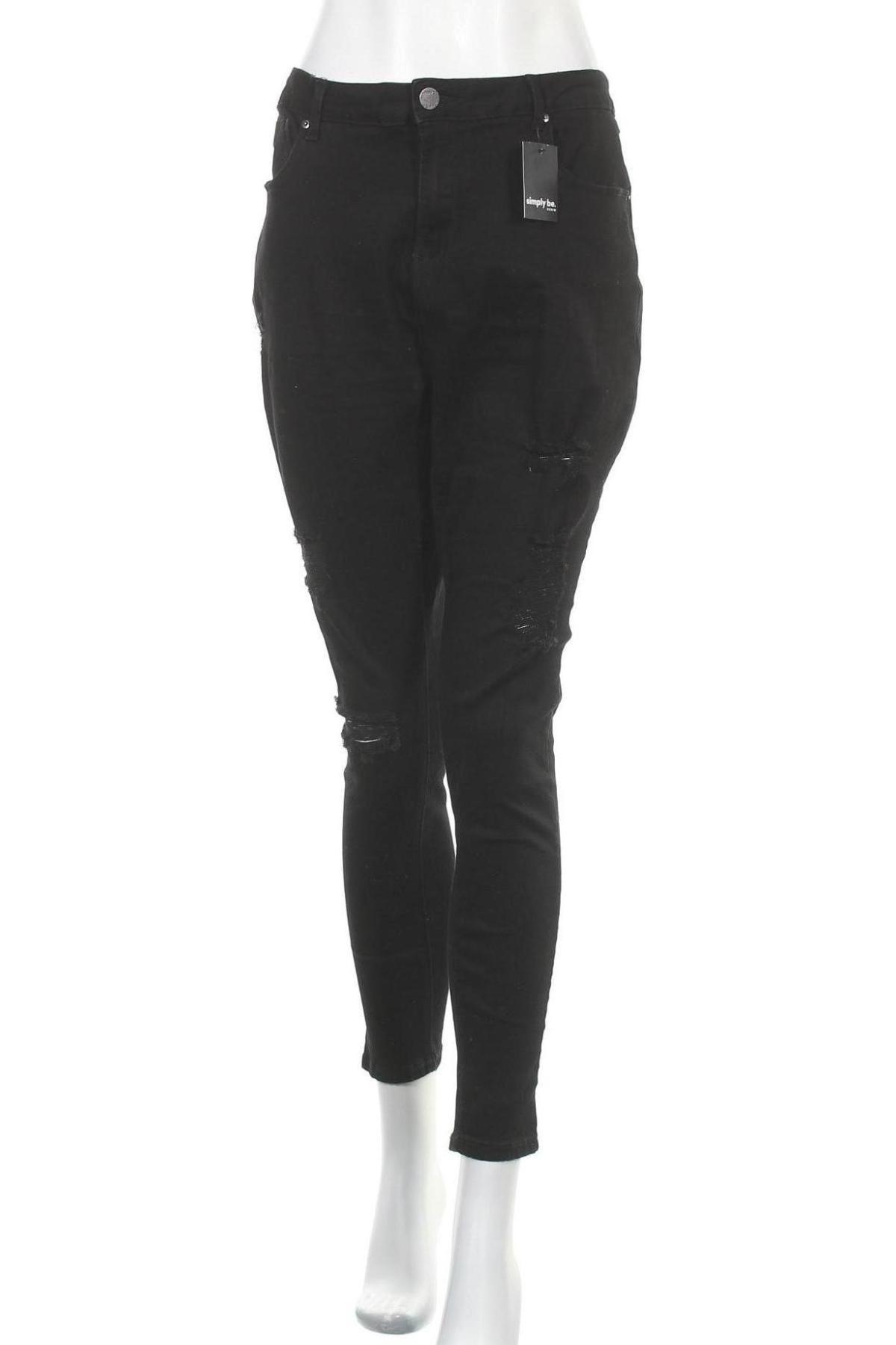 Дамски дънки Simply Be, Размер XL, Цвят Черен, 70% памук, 20% полиестер, 9% вискоза, 1% еластан, Цена 51,75лв.