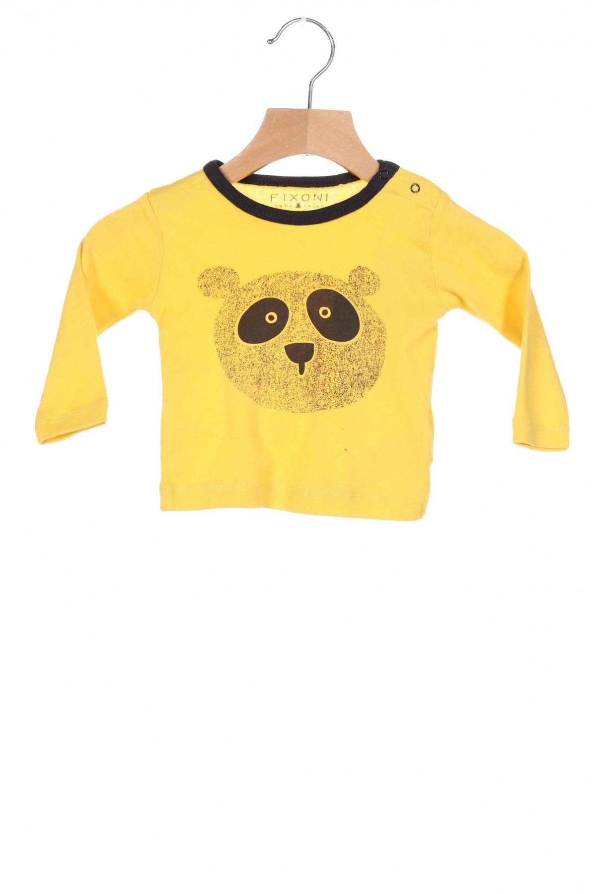 Детска блуза Fixoni, Размер 2-3m/ 56-62 см, Цвят Жълт, Памук, Цена 33,00лв.