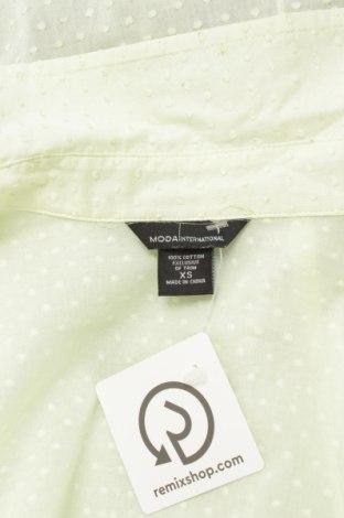 Γυναικείο πουκάμισο Moda International, Μέγεθος XS, Χρώμα Πράσινο, Βαμβάκι, Τιμή 13,92€