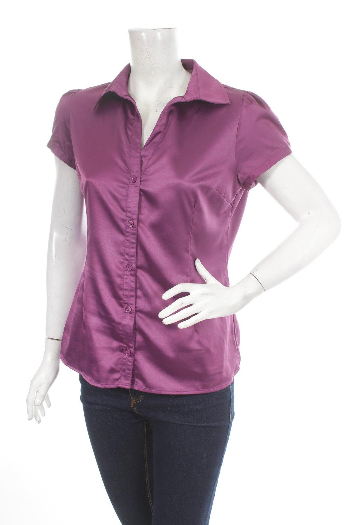 Γυναικείο πουκάμισο Lefties, Μέγεθος L, Χρώμα Βιολετί, 97% πολυεστέρας, 3% ελαστάνη, Τιμή 13,92€