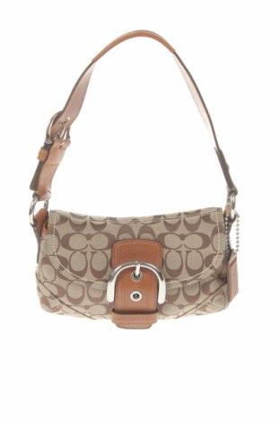 Дамска чанта Coach, Цвят Бежов, Текстил, естествена кожа, Цена 30,80лв.