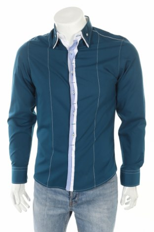 Мъжка риза, Размер S, Цвят Син, 80% памук, 20% полиестер, Цена 6,58лв.