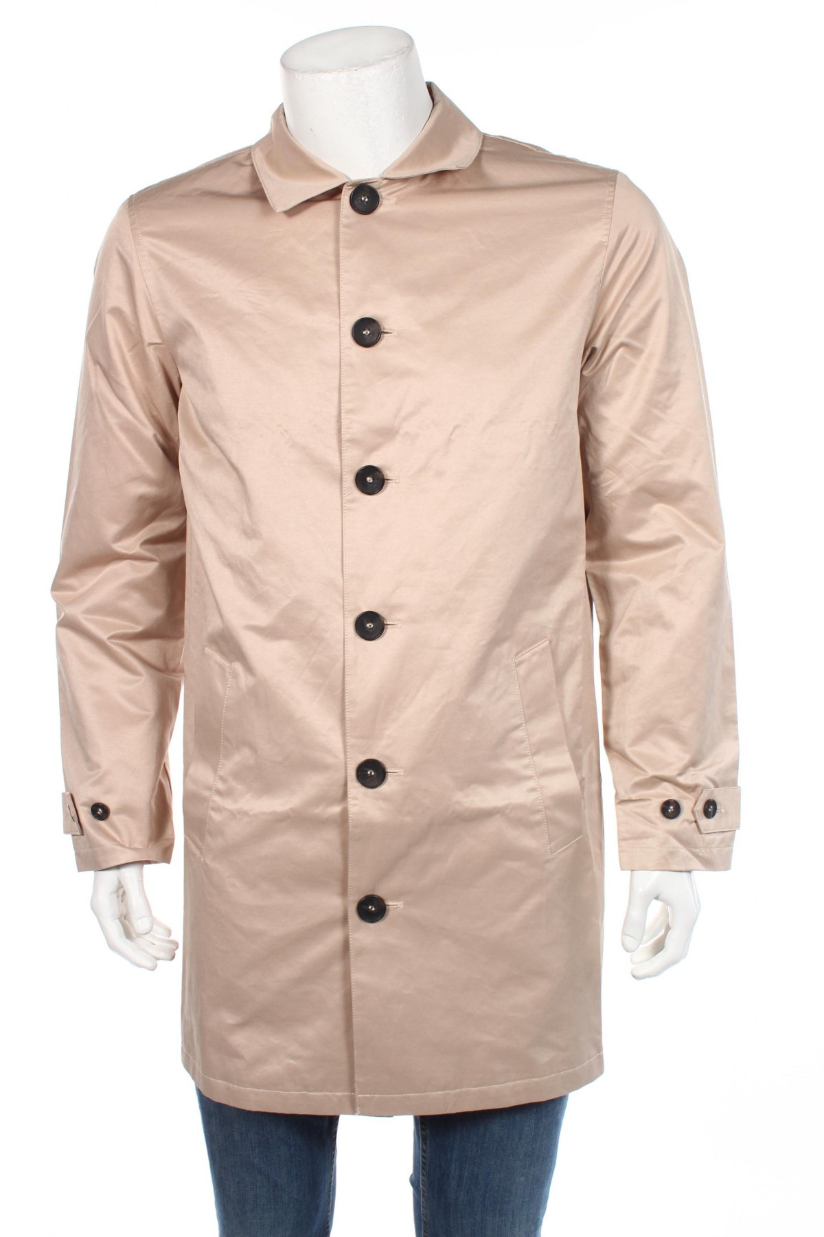 Мъжко палто Rainbow, Размер M, Цвят Бежов, 64% памук, 28% полиестер, 8% полиамид, Цена 48,72лв.