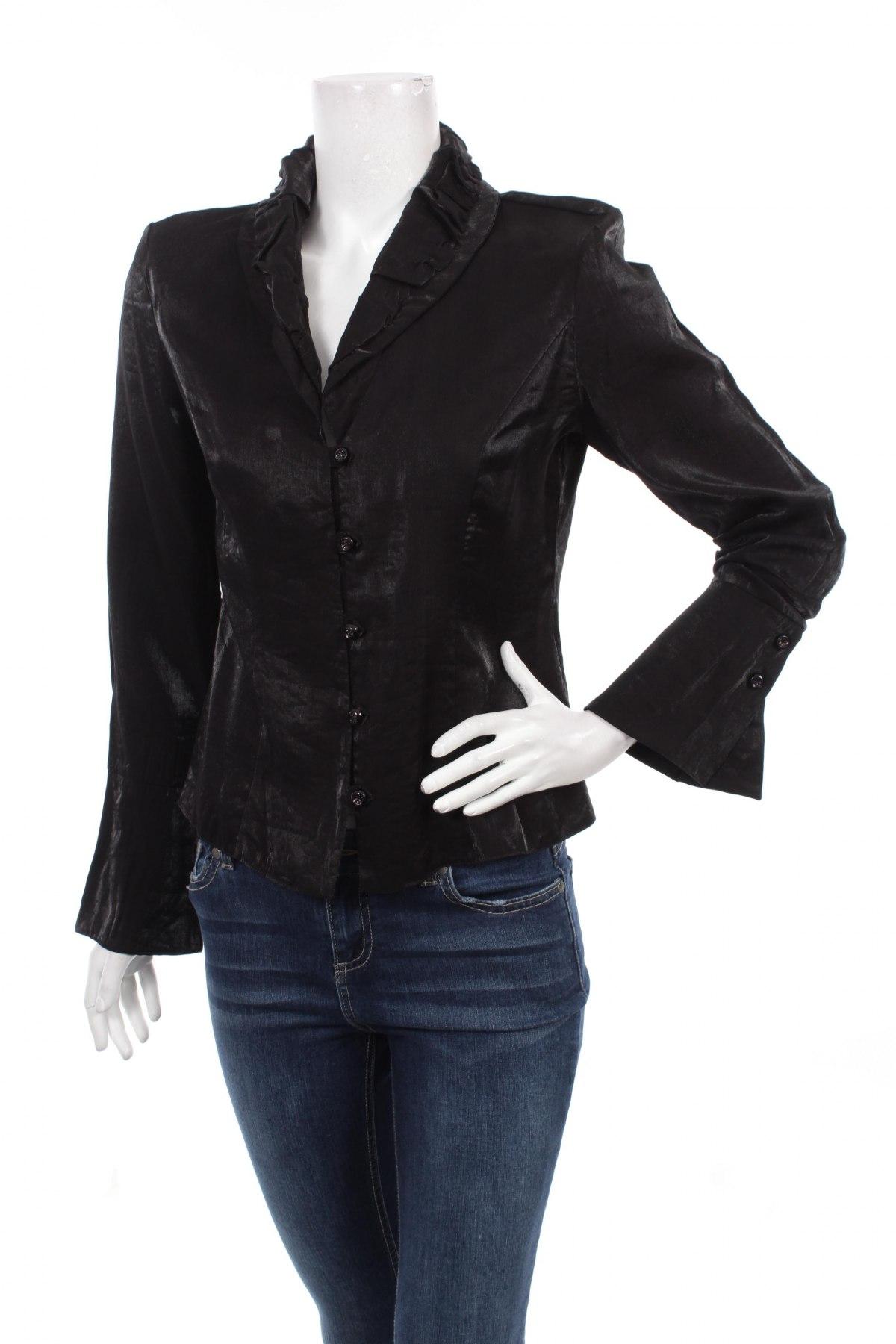 Γυναικείο πουκάμισο Lapet, Μέγεθος L, Χρώμα Μαύρο, Τιμή 17,01€