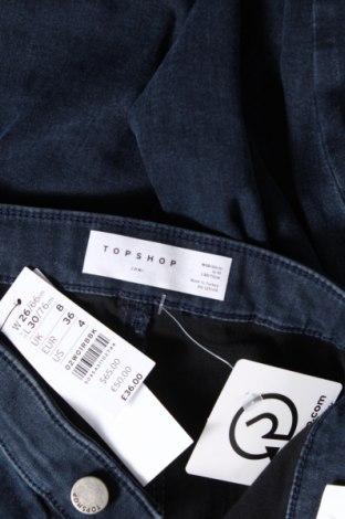 Дамски дънки Topshop, Размер S, Цвят Син, 71% памук, 26% полиестер, 3% еластан, Цена 43,47лв.