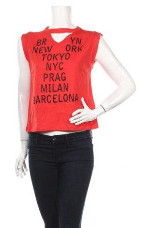 Γυναικείο αμάνικο μπλουζάκι Rainbow, Μέγεθος S, Χρώμα Κόκκινο, 50% βαμβάκι, 50% μοντάλ, Τιμή 8,07€
