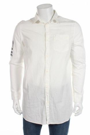 Мъжка риза H&M Divided, Размер M, Цвят Бял, Памук, Цена 12,00лв.