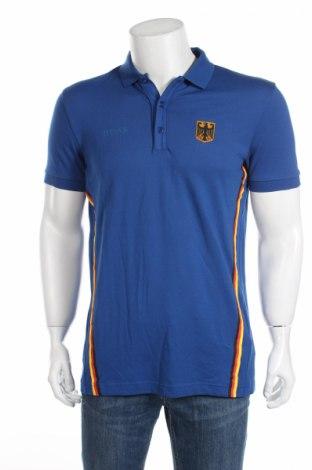 Мъжка тениска Boss, Размер M, Цвят Син, 56% памук, 39% полиестер, 5% еластан, Цена 62,40лв.