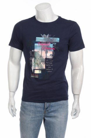 Мъжка тениска Bpc Bonprix Collection, Размер S, Цвят Син, Памук, Цена 21,42лв.