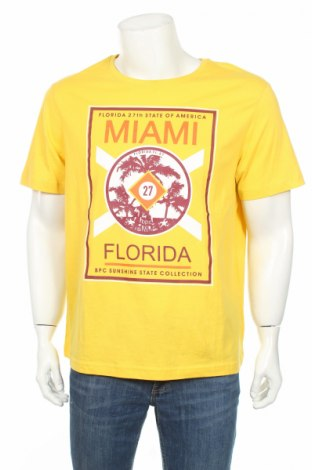 Мъжка тениска Bpc Bonprix Collection, Размер L, Цвят Жълт, Памук, Цена 22,05лв.