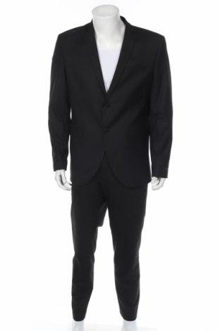 Мъжки костюм Jack & Jones, Размер L, Цвят Черен, 56% полиестер, 41% вискоза, 3% еластан, Цена 96,75лв.