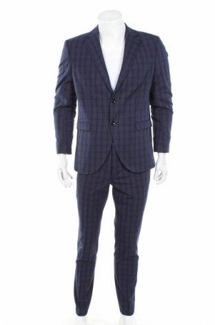 Мъжки костюм Selected Homme, Размер L, Цвят Син, 65% полиестер, 33% вискоза, 2% еластан, Цена 155,40лв.