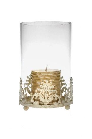 Свещник, Цвят Бял, Метал, стъкло, Цена 21,46лв.