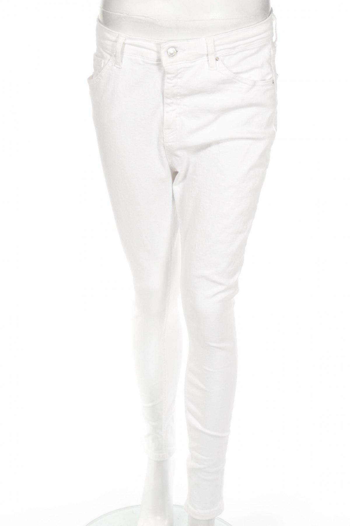 Дамски дънки Topshop, Размер L, Цвят Бял, 93% памук, 7% еластан, Цена 51,68лв.
