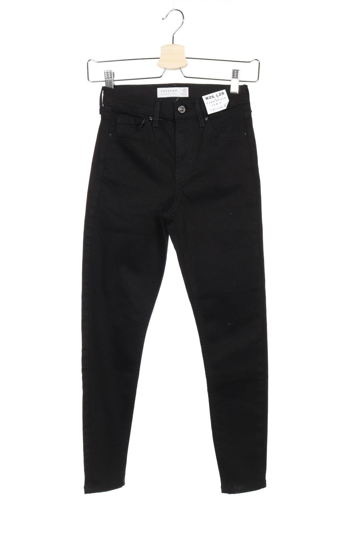 Дамски дънки Topshop, Размер S, Цвят Черен, 71% памук, 26% полиестер, 3% еластан, Цена 55,44лв.