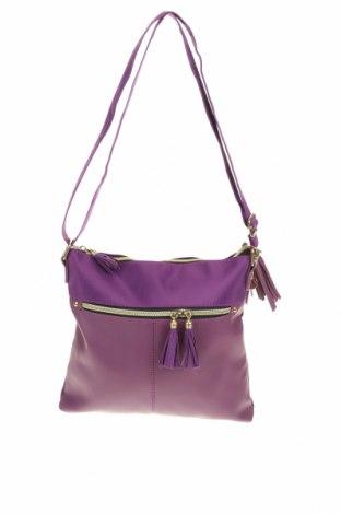 Дамска чанта, Цвят Лилав, Еко кожа, текстил, Цена 23,10лв.