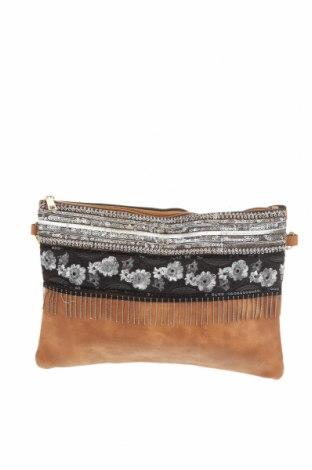 Дамска чанта, Цвят Кафяв, Еко кожа, текстил, Цена 22,68лв.