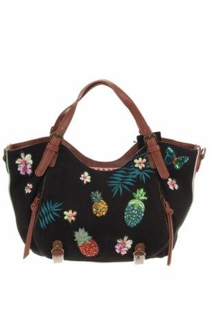 Дамска чанта Desigual, Цвят Черен, Текстил, еко кожа, Цена 104,25лв.