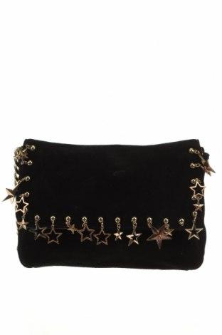 Дамска чанта Kookai, Цвят Черен, Естествен велур, Цена 98,75лв.
