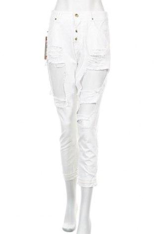 Дамски дънки Met, Размер L, Цвят Бял, 97% памук, 3% еластан, Цена 49,17лв.