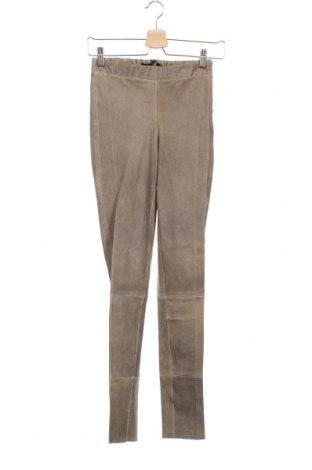 Дамски кожен панталон Arma, Размер XS, Цвят Сив, Естествена кожа, Цена 312,12лв.
