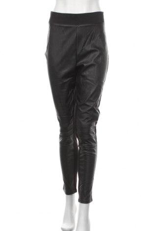 Дамски кожен панталон H&M, Размер XL, Цвят Черен, Еко кожа, текстил, Цена 26,46лв.