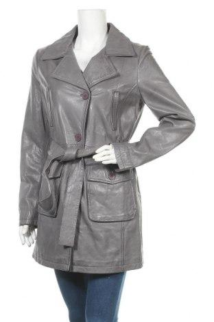 Дамски кожен шлифер Freaky Nation, Размер M, Цвят Сив, Естествена кожа, Цена 167,60лв.