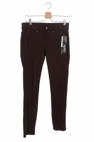Дамски панталон Xoxo, Размер XS, Цвят Кафяв, 63% полиестер, 33% памук, 4% еластан, Цена 8,40лв.