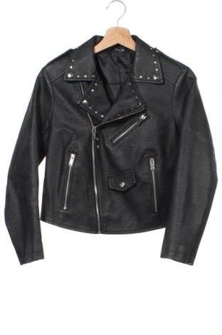 Дамско кожено яке, Размер XS, Цвят Черен, Еко кожа, Цена 39,20лв.