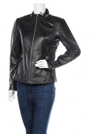Дамско кожено яке Isaco & Kawa, Размер L, Цвят Черен, Естествена кожа, Цена 127,02лв.