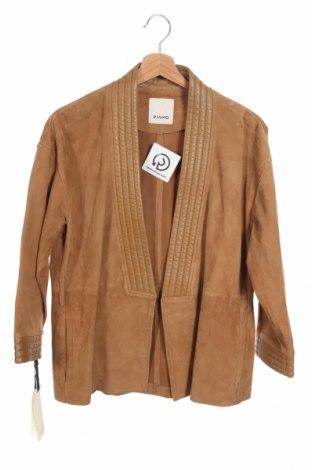 Дамско кожено яке Pinko, Размер XS, Цвят Бежов, Естествен велур, естествена кожа, Цена 352,92лв.