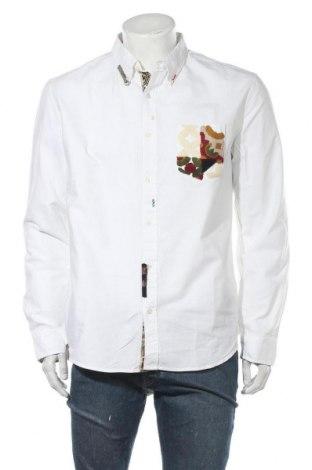 Ανδρικό πουκάμισο Desigual, Μέγεθος XL, Χρώμα Λευκό, 100% βαμβάκι, Τιμή 33,71€