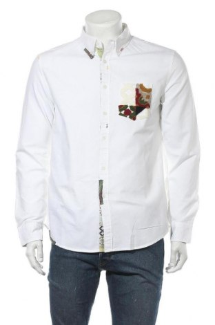 Ανδρικό πουκάμισο Desigual, Μέγεθος M, Χρώμα Λευκό, 100% βαμβάκι, Τιμή 29,78€