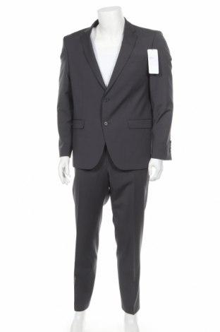 Мъжки костюм Bugatti, Размер L, Цвят Сив, 71% вълна, 27% полиестер, 2% еластан, Цена 225,62лв.