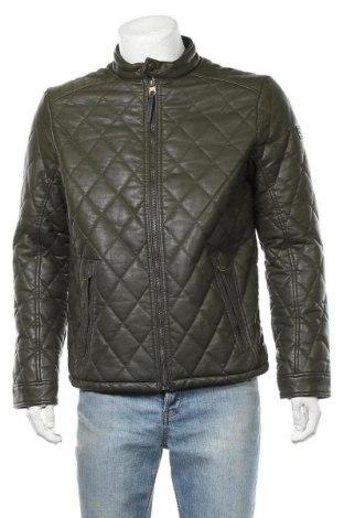 Ανδρικό δερμάτινο μπουφάν Tom Tailor, Μέγεθος L, Χρώμα Πράσινο, Δερματίνη, Τιμή 51,63€