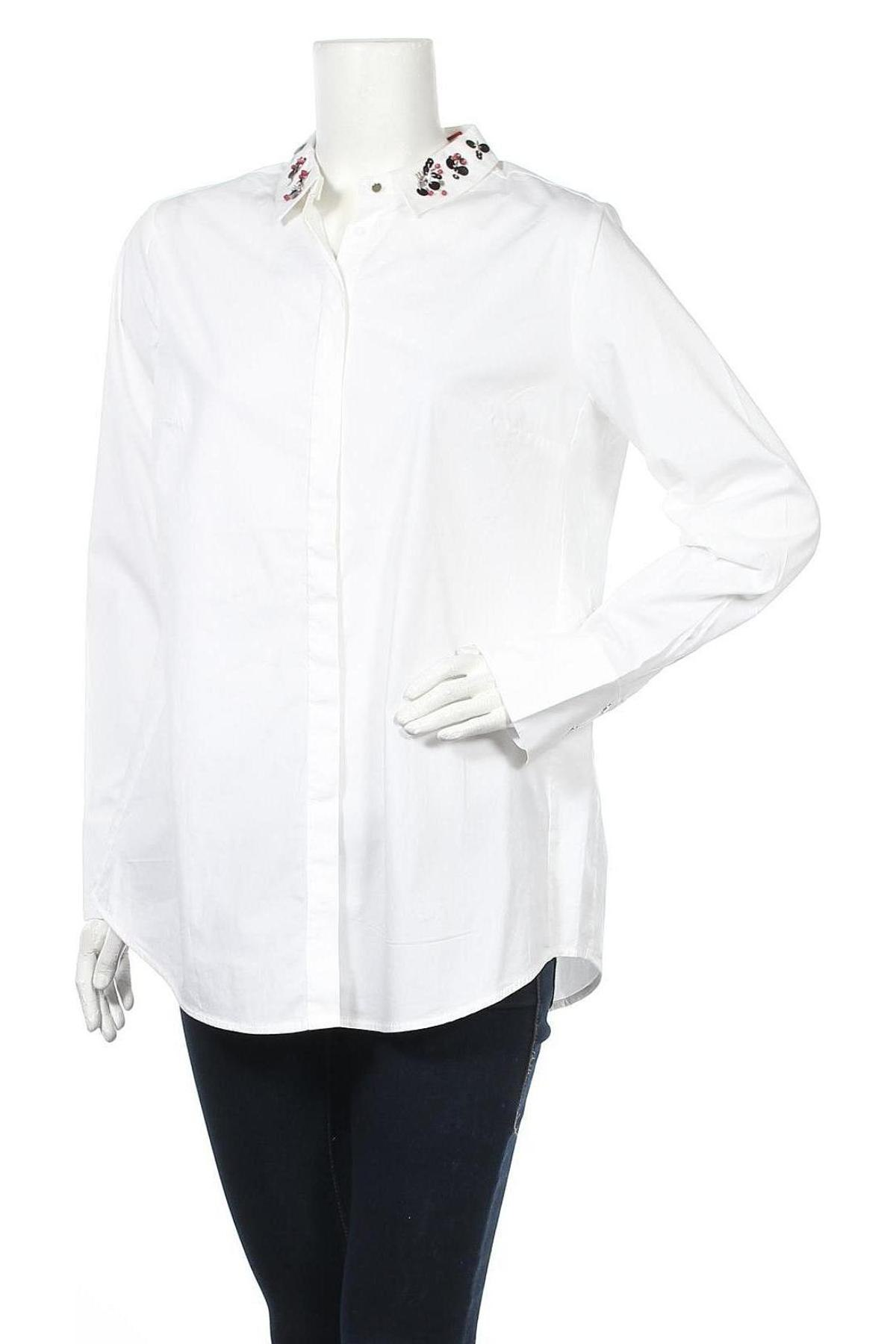 Γυναικείο πουκάμισο S.Oliver, Μέγεθος L, Χρώμα Λευκό, 97% βαμβάκι, 3% ελαστάνη, Τιμή 34,41€