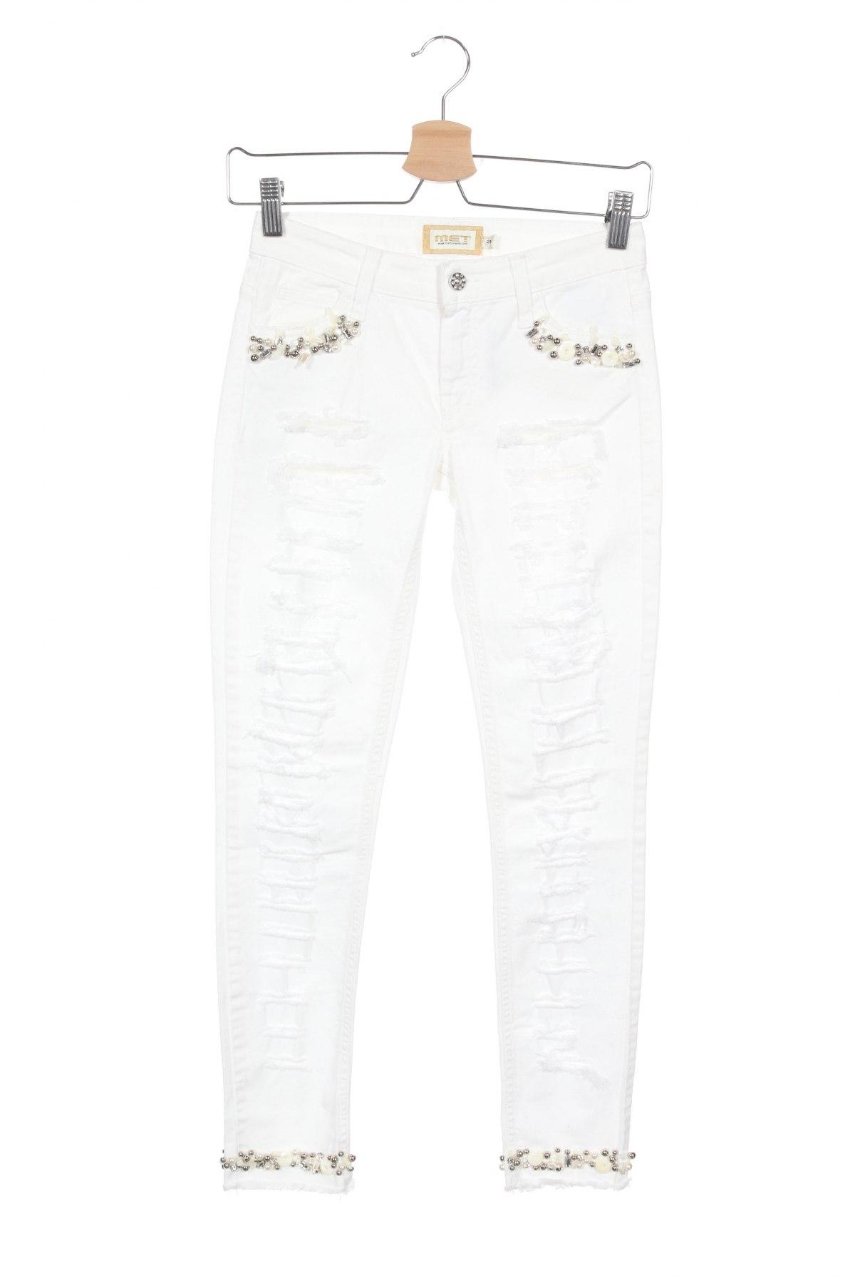 Дамски дънки Met, Размер XS, Цвят Бял, 97% памук, 3% еластан, Цена 96,75лв.