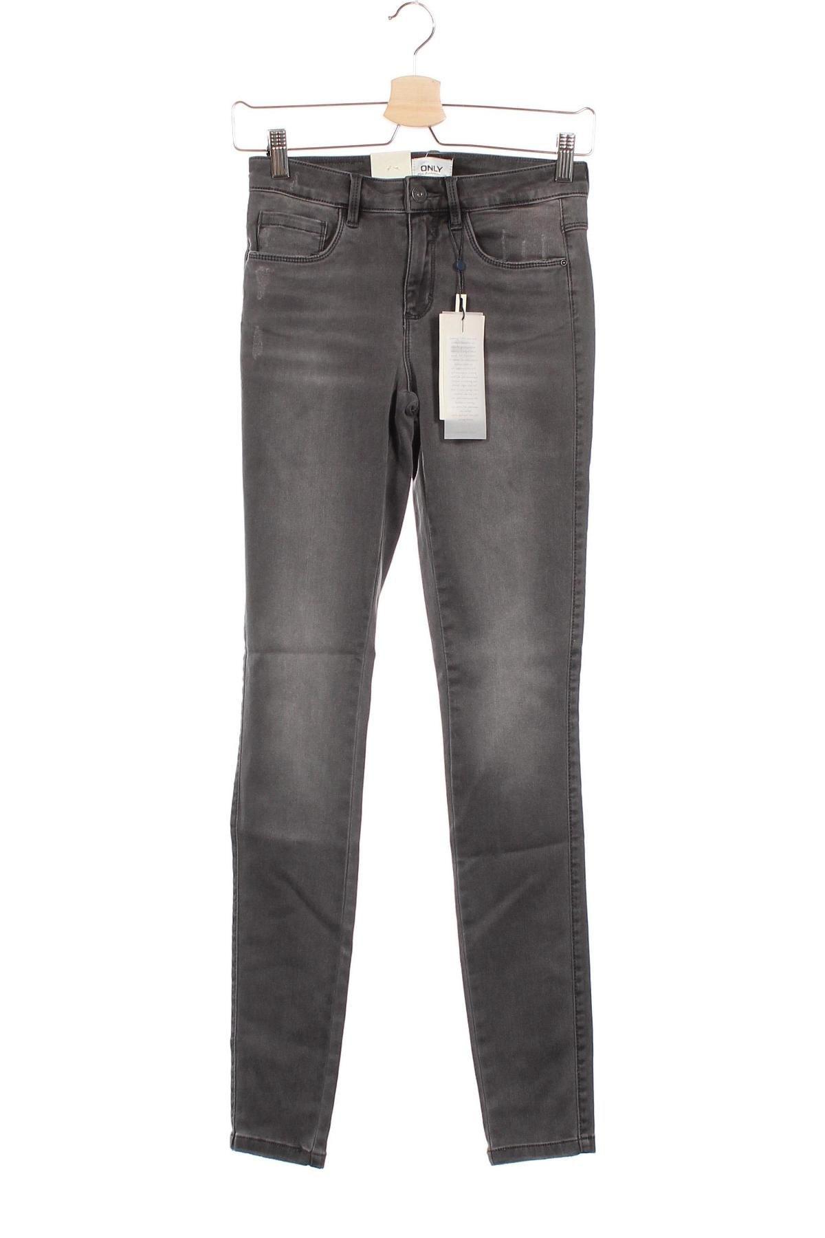 Дамски дънки ONLY, Размер XS, Цвят Сив, 60% памук, 39% полиестер, 1% еластан, Цена 24,96лв.