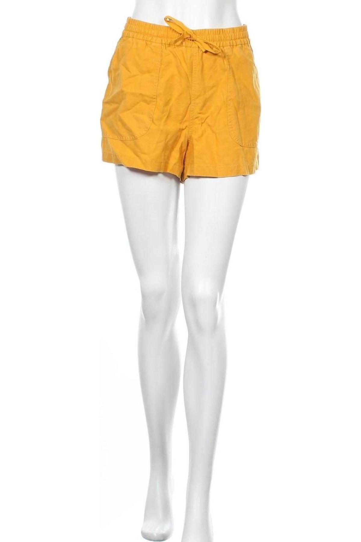 Pantaloni scurți de femei J.Crew, Mărime M, Culoare Galben, 55% in, 45% lyocell, Preț 194,90 Lei