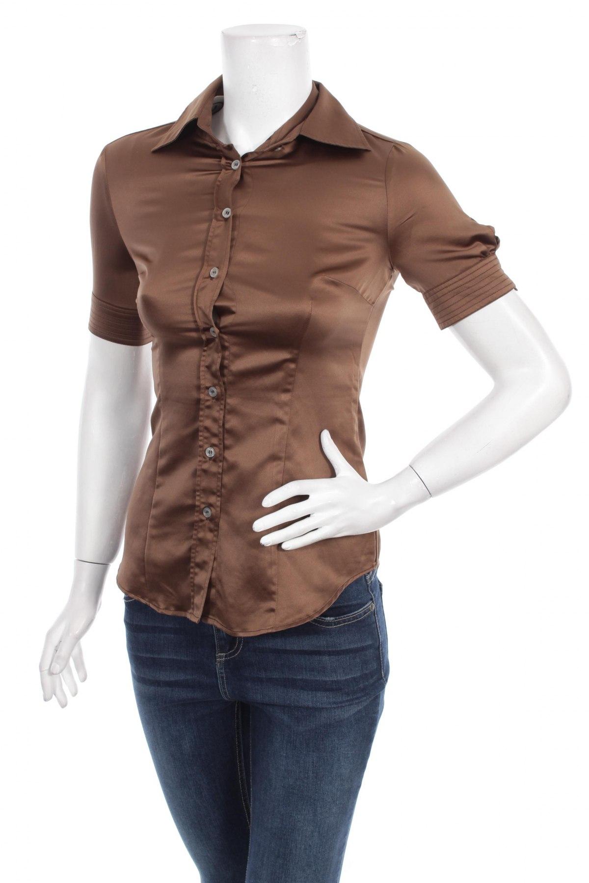 Γυναικείο πουκάμισο United Colors Of Benetton, Μέγεθος XS, Χρώμα Καφέ, 97% πολυεστέρας, 3% ελαστάνη, Τιμή 12,37€