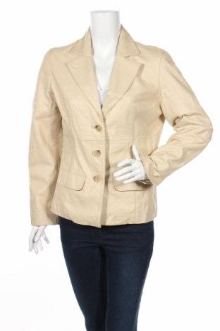Дамско кожено сако, Размер M, Цвят Бежов, Естествена кожа, Цена 39,78лв.