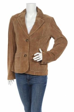 Дамско кожено сако H&M L.o.g.g, Размер L, Цвят Кафяв, Естествена кожа, Цена 116,48лв.
