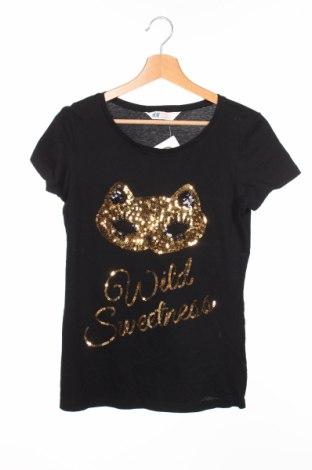 Tricou de copii H&M, Mărime 15-18y/ 170-176 cm, Culoare Negru, Bumbac, Preț 49,61 Lei