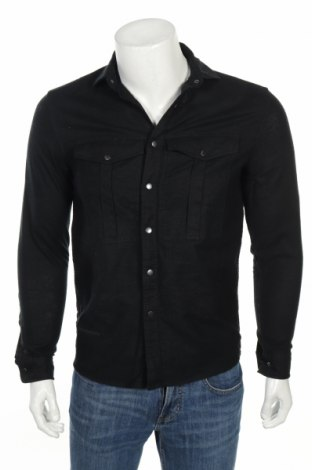 Мъжка риза ASOS, Размер XXS, Цвят Черен, 55% лен, 45% памук, Цена 55,30лв.