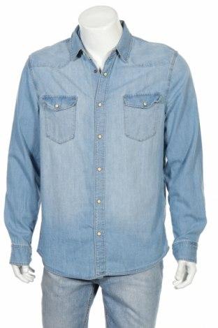 Мъжка риза H&M L.o.g.g, Размер L, Цвят Син, Памук, Цена 12,03лв.